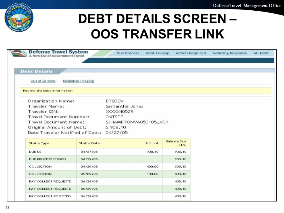 Defense Travel Management Office Office of the Under Secretary of Defense (Personnel and Readiness) DEBT DETAILS SCREEN – OOS TRANSFER LINK 48