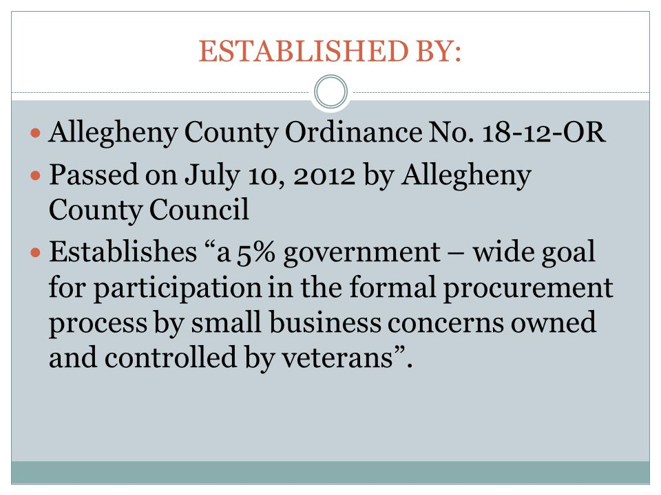 ESTABLISHED BY: Allegheny County Ordinance No.