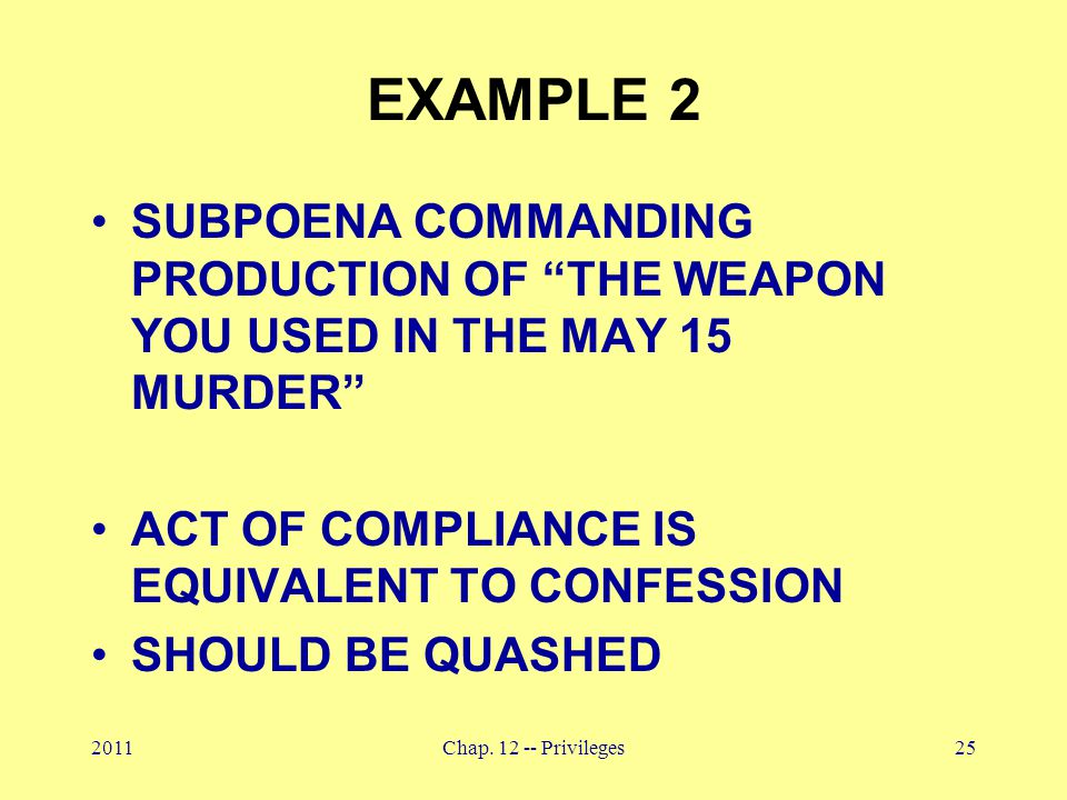 "2011Chap. 12 -- Privileges25 EXAMPLE 2 SUBPOENA COMMANDING PRODUCTION OF ""THE WEAPON YOU USED IN THE MAY 15 MURDER"" ACT OF COMPLIANCE IS EQUIVALENT TO"
