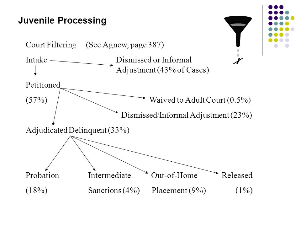 Juvenile Processing Court Filtering (See Agnew, page 387) IntakeDismissed or Informal Adjustment (43% of Cases) Petitioned (57%) Waived to Adult Court