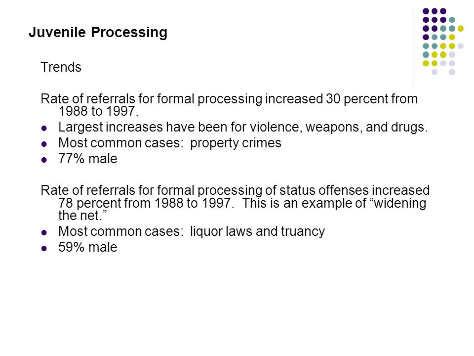 Juvenile Processing Trends Rate of referrals for formal processing increased 30 percent from 1988 to 1997. Largest increases have been for violence, w