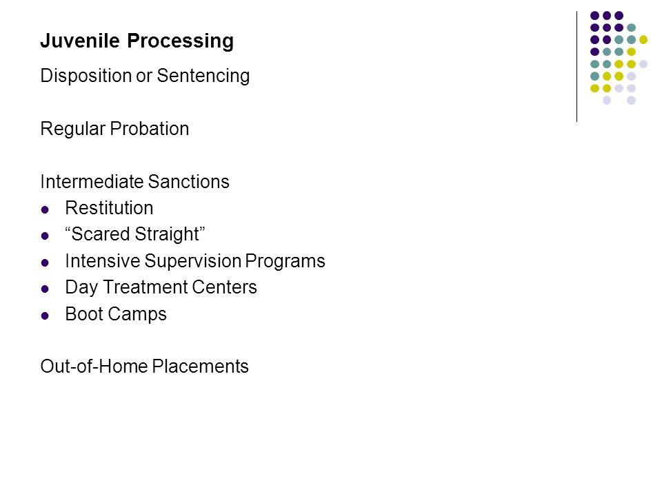 "Juvenile Processing Disposition or Sentencing Regular Probation Intermediate Sanctions Restitution ""Scared Straight"" Intensive Supervision Programs Da"