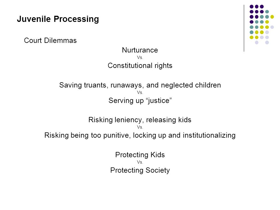 """Juvenile Processing Court Dilemmas Nurturance Vs. Constitutional rights Saving truants, runaways, and neglected children Vs. Serving up """"justice"""" Risk"""