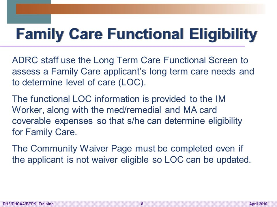 DHS/DHCAA/BEPS Training89April 2010 LTMC Reports (cont'd.) CARES and interChange Report - Temporary Cost Share Report –CARES: This is a monthly report that contains cost share information for Family Care, PACE and Partnership recipients.