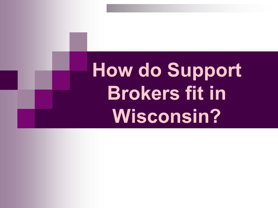 How do Support Brokers fit in Wisconsin?