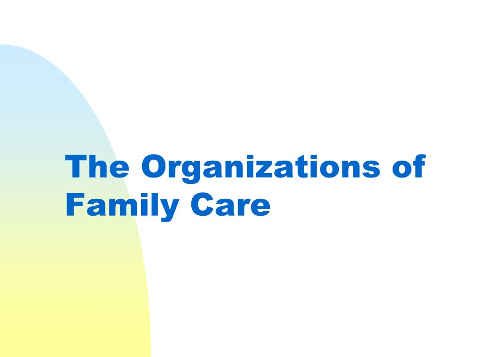 The Organizations of Family Care