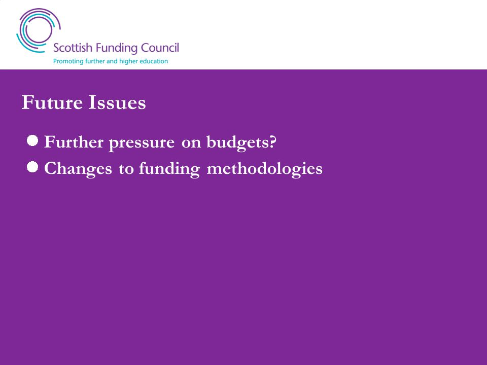 Future Issues Further pressure on budgets? Changes to funding methodologies