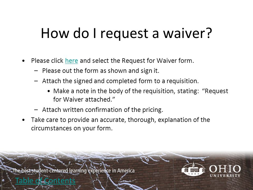 How do I request a waiver.