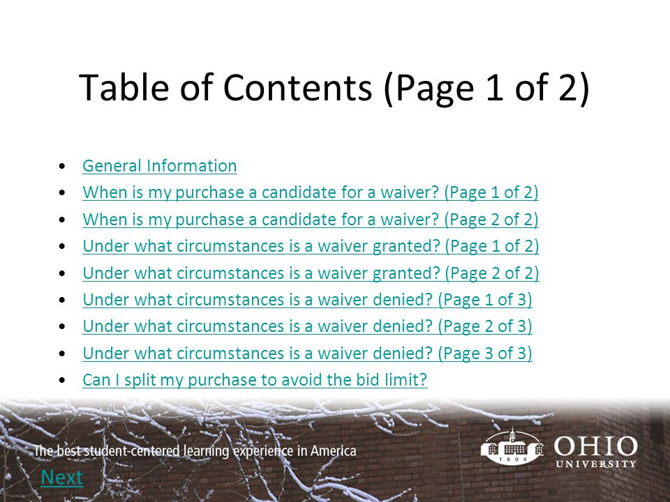 Table of Contents (Page 2 of 2) How do I request a waiver.