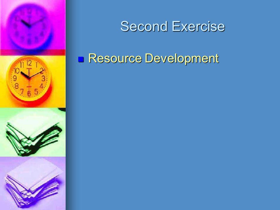 Second Exercise Resource Development Resource Development