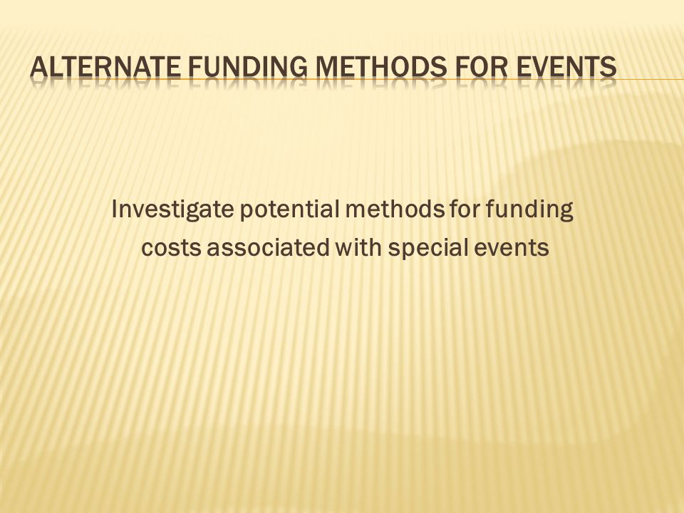 Investigate potential methods for funding costs associated with special events