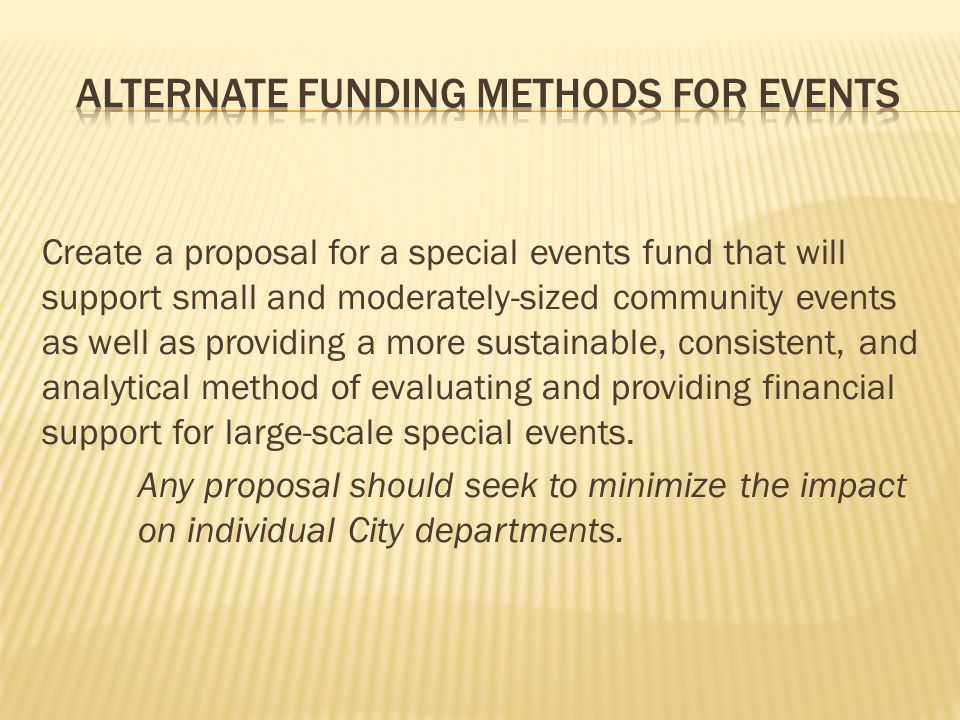 Create a proposal for a special events fund that will support small and moderately-sized community events as well as providing a more sustainable, con