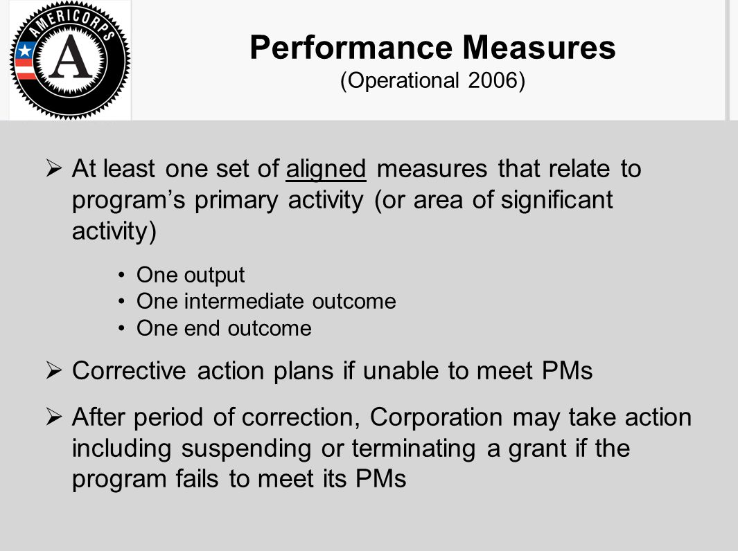 Performance Measures (Operational 2006)  At least one set of aligned measures that relate to program's primary activity (or area of significant activ