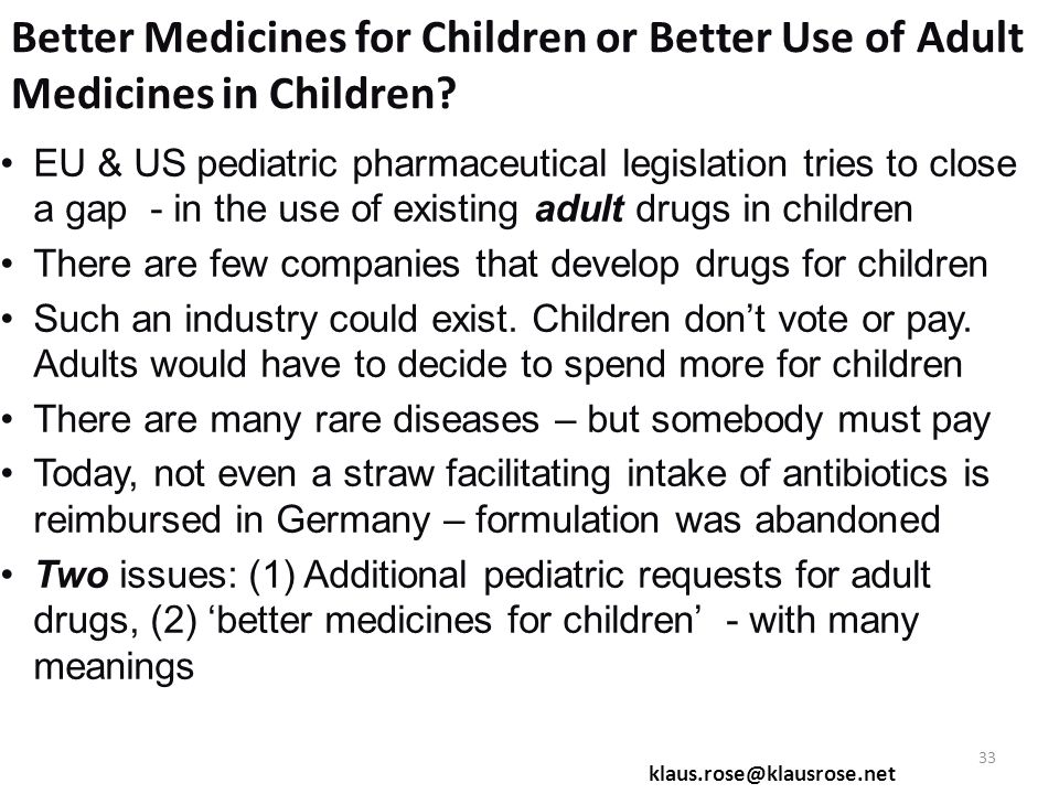 Better Medicines for Children or Better Use of Adult Medicines in Children.