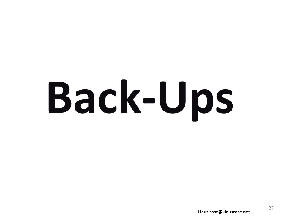 Back-Ups klaus.rose@klausrose.net 37