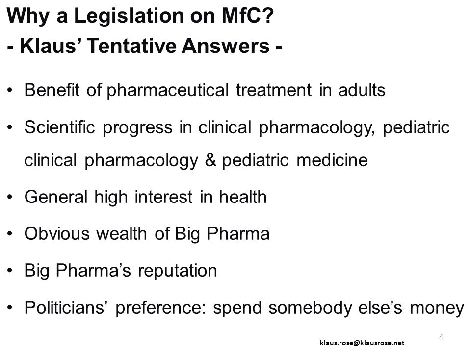 Why a Legislation on MfC.