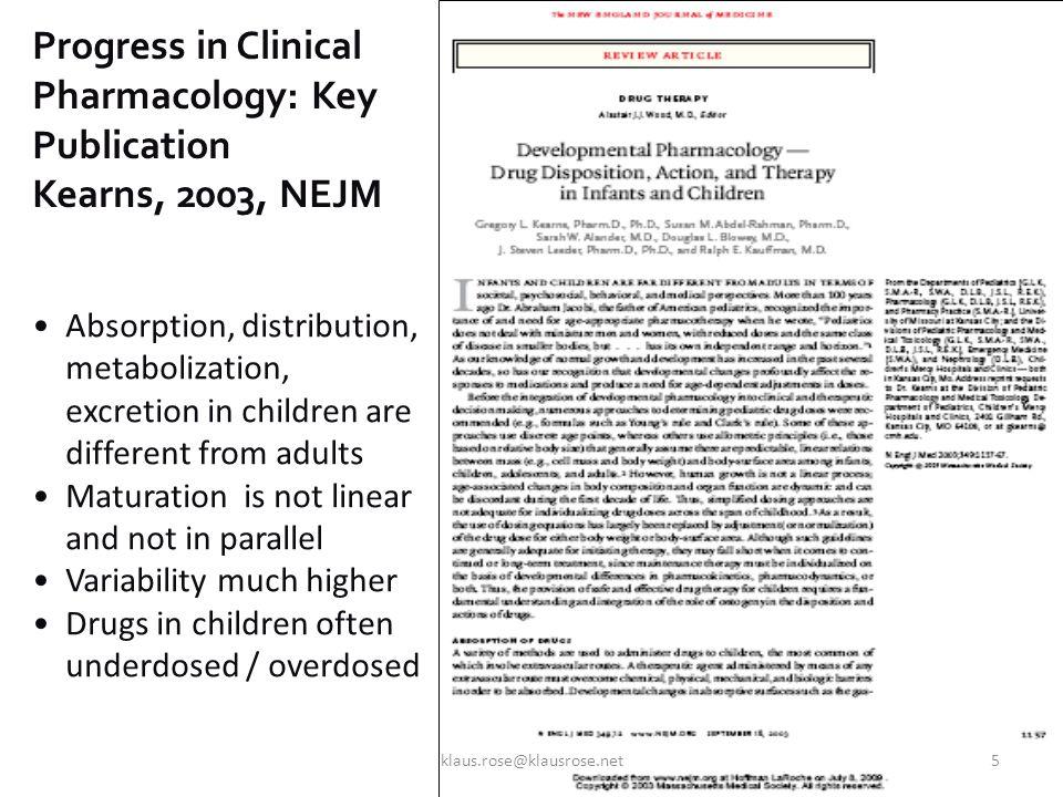Kearns et al, NEJM 2003 ADME In Children klaus.rose@klausrose.net6