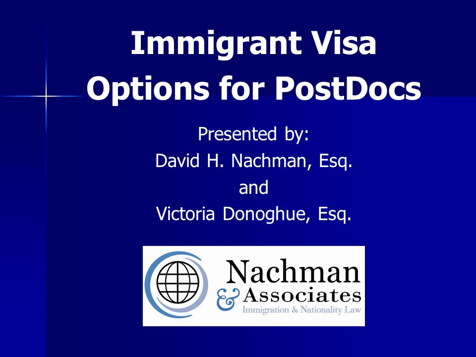 Overview Path to Permanent Residence for Researchers & Post Docs F Visas (students) F Visas (students) J Visas (research scholars) J Visas (research scholars) H-1B Visas (employees) H-1B Visas (employees) Employment Based Permanent Residence Employment Based Permanent Residence