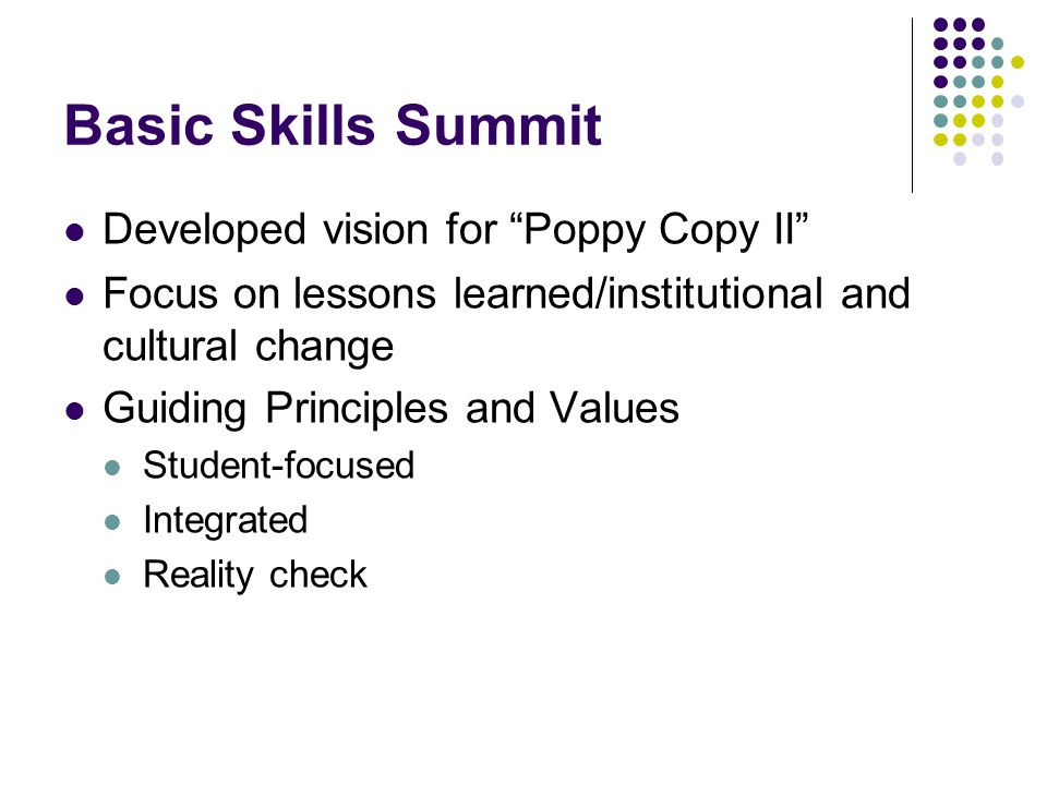 "Basic Skills Summit Developed vision for ""Poppy Copy II"" Focus on lessons learned/institutional and cultural change Guiding Principles and Values Stud"