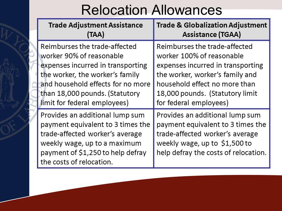 Relocation Allowances Trade Adjustment Assistance (TAA) Trade & Globalization Adjustment Assistance (TGAA) Reimburses the trade-affected worker 90% of