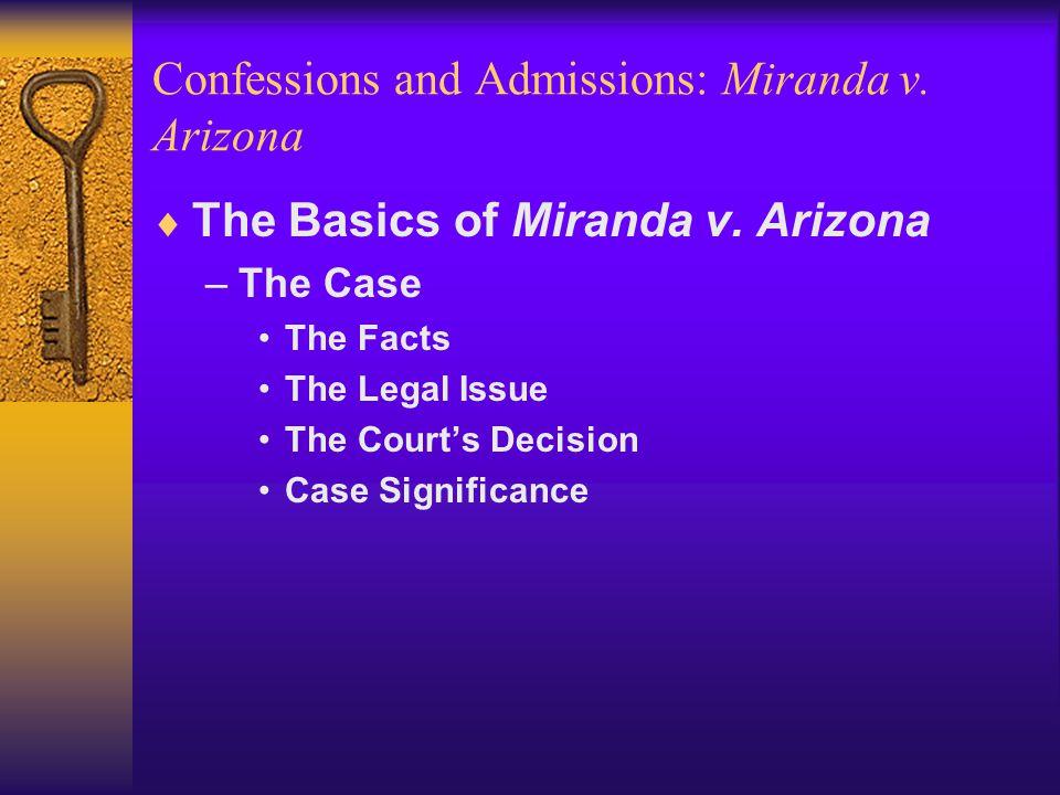 Confessions and Admissions: Miranda v. Arizona  The Basics of Miranda v.