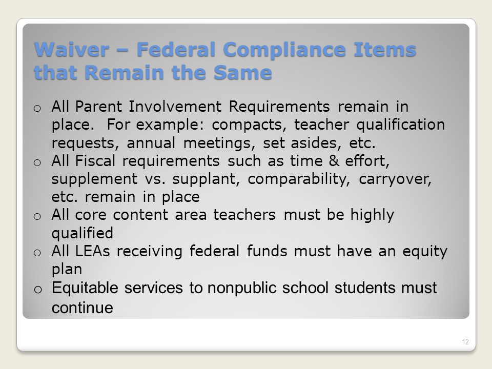 Waiver – Federal Compliance Items that Remain the Same 12 o All Parent Involvement Requirements remain in place.