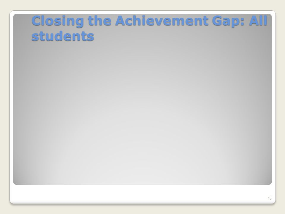 Closing the Achievement Gap: All students 16
