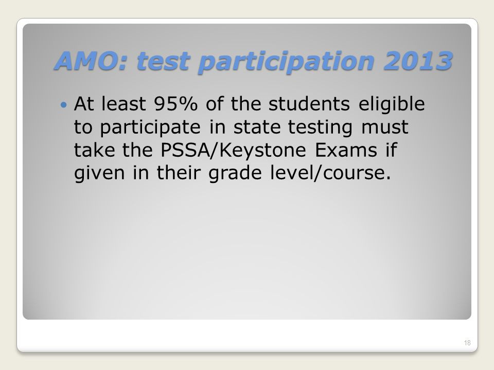 AMO: test participation 2013 At least 95% of the students eligible to participate in state testing must take the PSSA/Keystone Exams if given in their grade level/course.