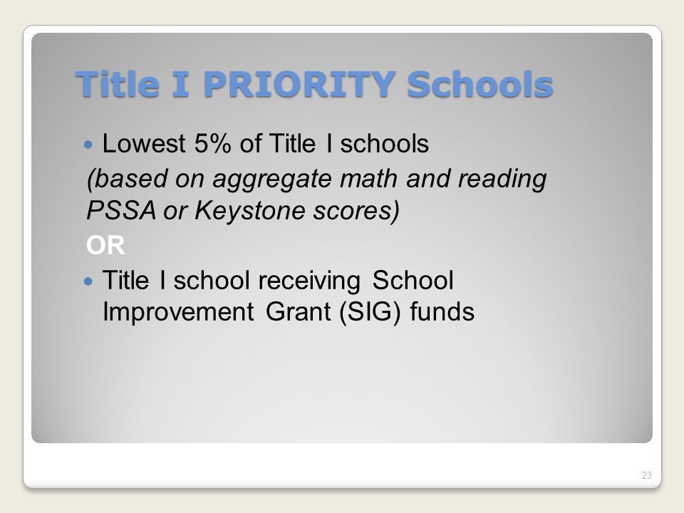 Title I PRIORITY Schools Lowest 5% of Title I schools (based on aggregate math and reading PSSA or Keystone scores) OR Title I school receiving School Improvement Grant (SIG) funds 23