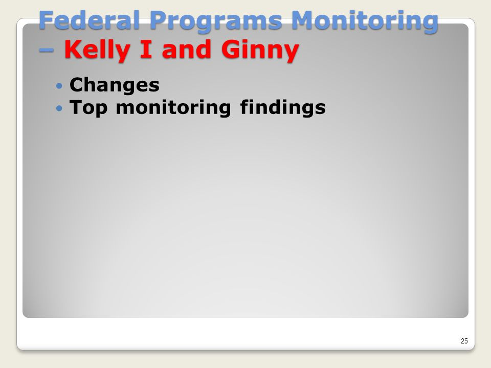 Federal Programs Monitoring – Kelly I and Ginny Changes Top monitoring findings 25