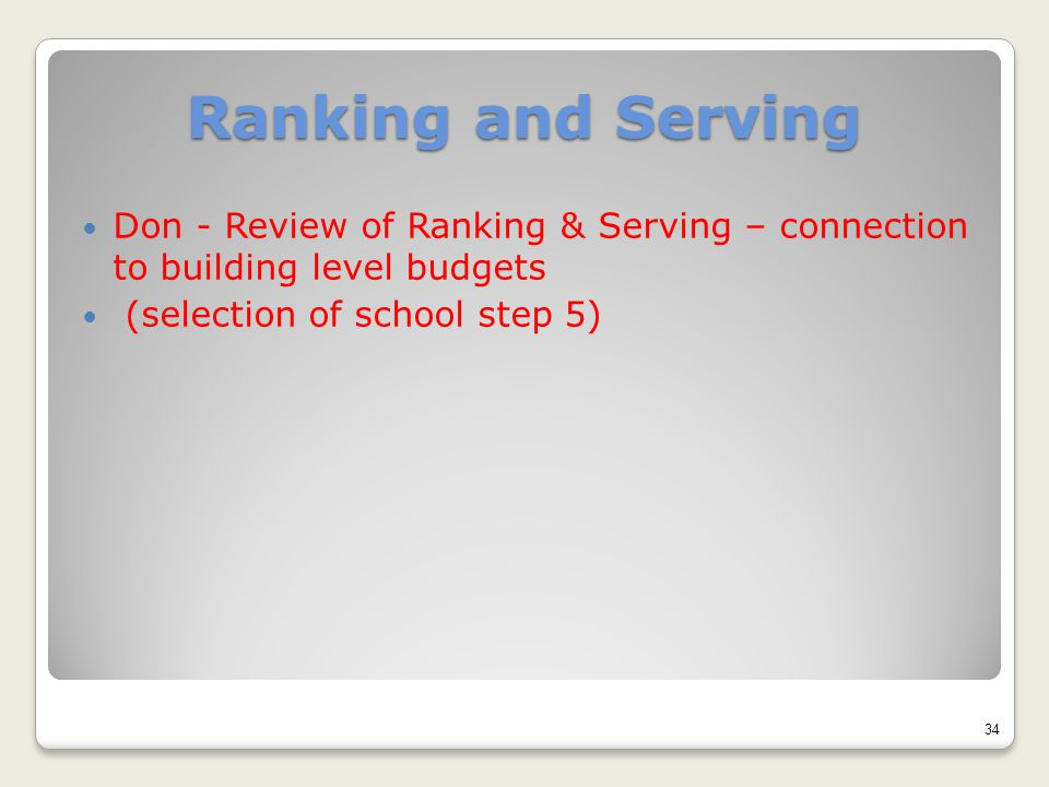Ranking and Serving Don - Review of Ranking & Serving – connection to building level budgets (selection of school step 5) 34