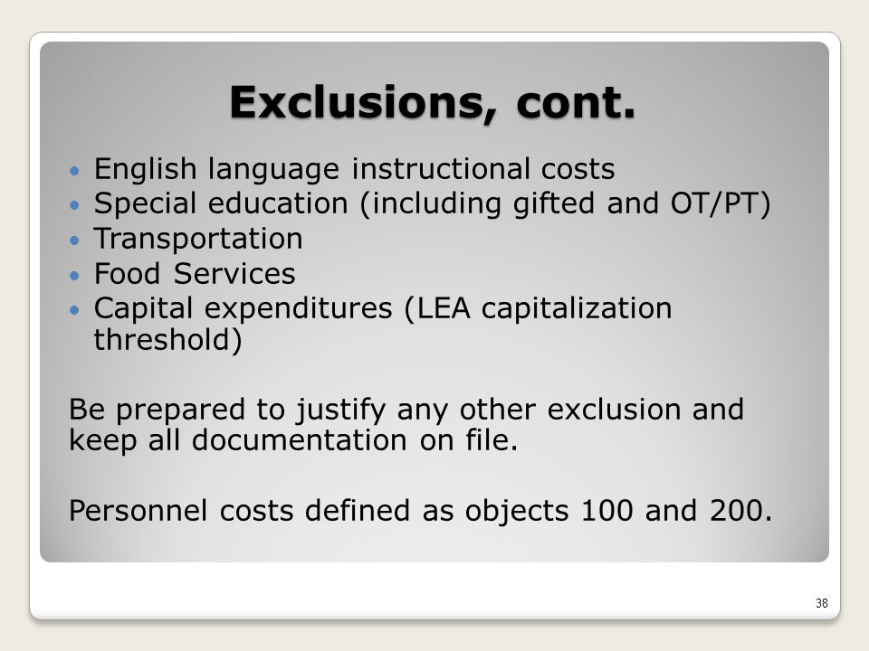 Exclusions, cont.
