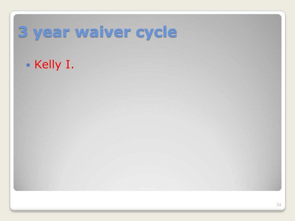 3 year waiver cycle Kelly I. 54