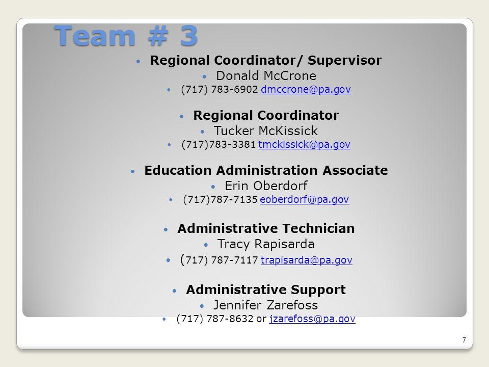 Team # 3 Regional Coordinator/ Supervisor Donald McCrone (717) 783-6902 dmccrone@pa.govdmccrone@pa.gov Regional Coordinator Tucker McKissick (717)783-