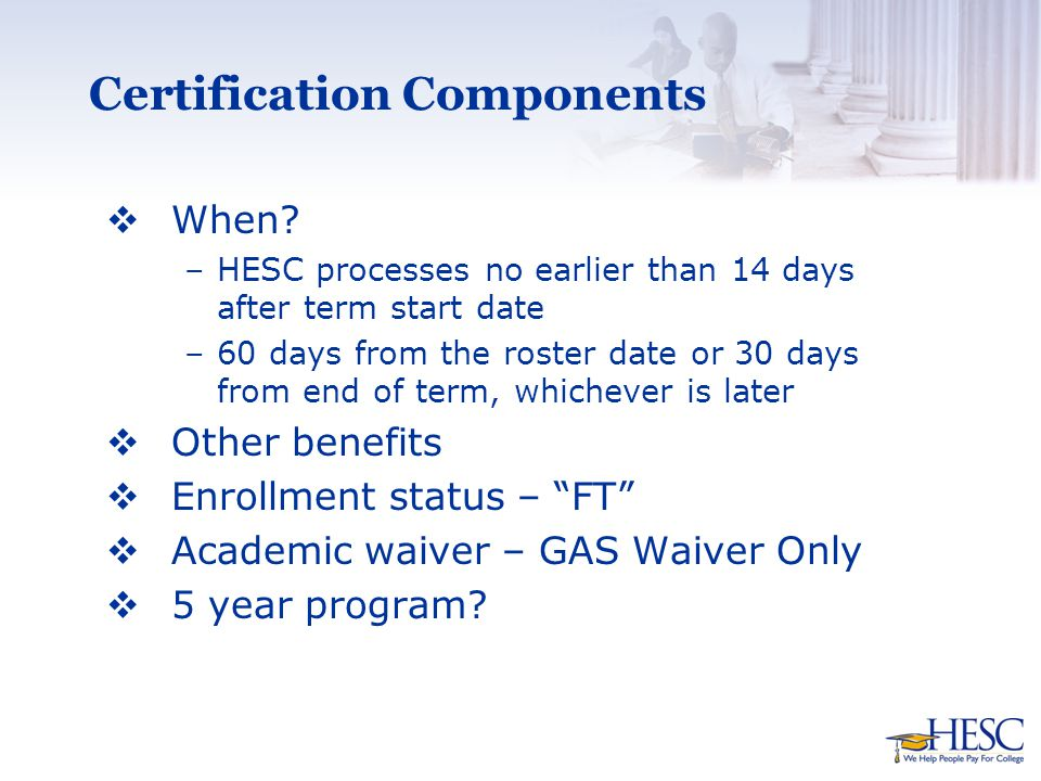 Certification Components  When.