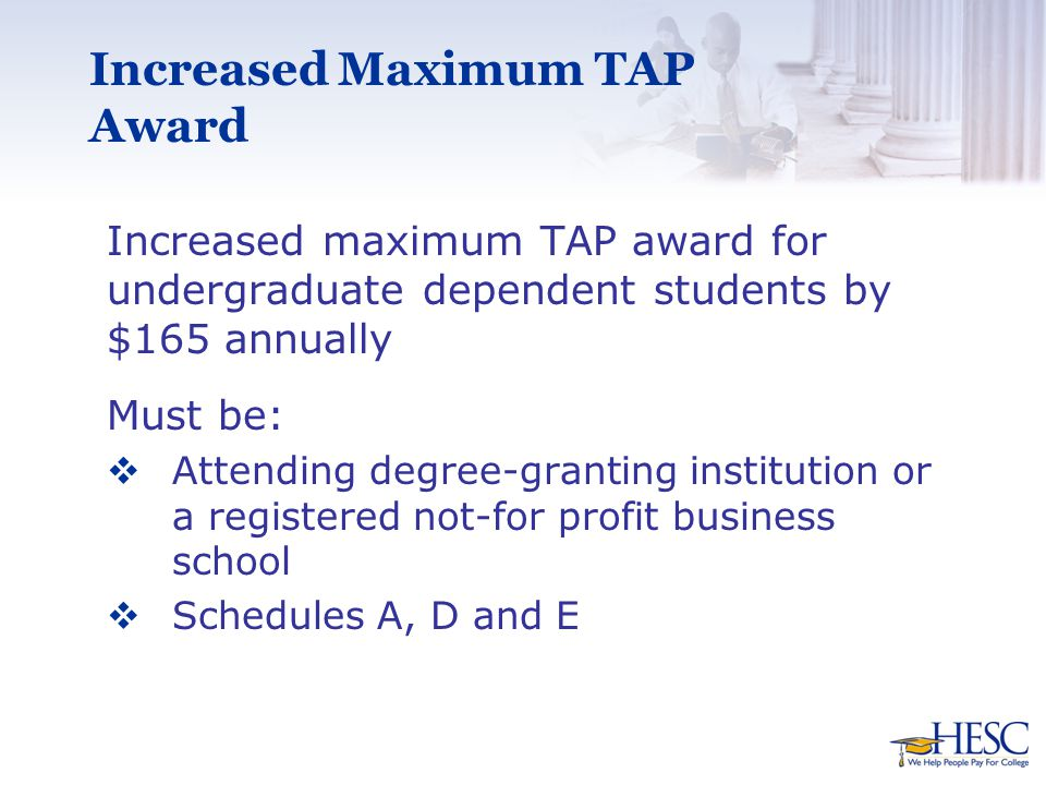 Increased Maximum TAP Award Increased maximum TAP award for undergraduate dependent students by $165 annually Must be:  Attending degree-granting institution or a registered not-for profit business school  Schedules A, D and E