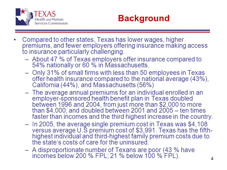 4 Background Compared to other states, Texas has lower wages, higher premiums, and fewer employers offering insurance making access to insurance particularly challenging.