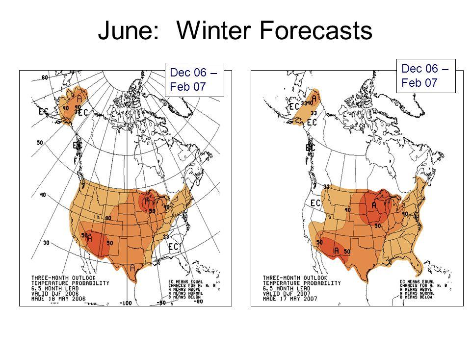 June: Winter Forecasts Dec 06 – Feb 07