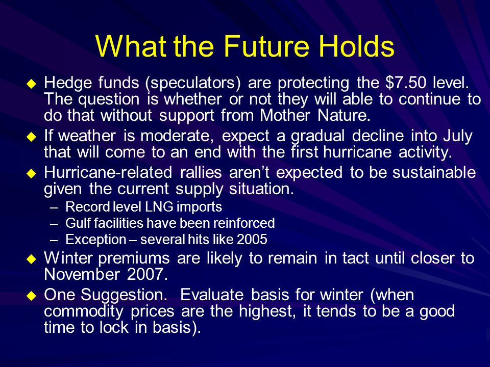 What the Future Holds  Hedge funds (speculators) are protecting the $7.50 level.