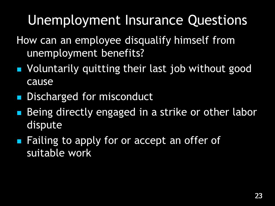 23 Unemployment Insurance Questions How can an employee disqualify himself from unemployment benefits.