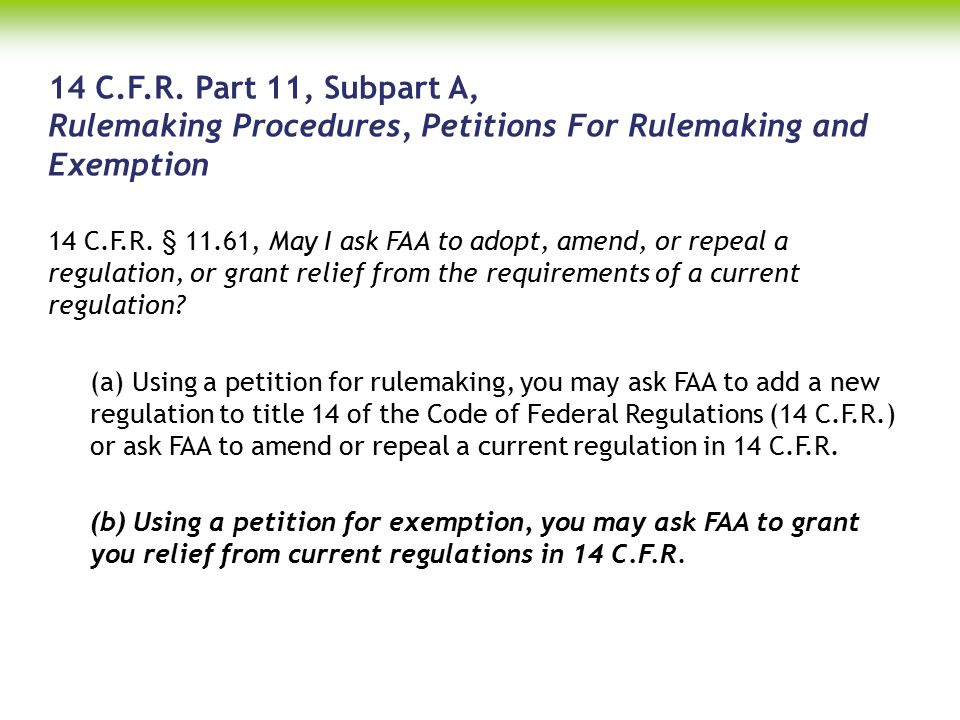 Petition For Exemption 14 C.F.R.