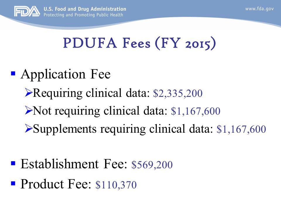 PDUFA Fees (FY 2015)  Application Fee  Requiring clinical data: $2,335,200  Not requiring clinical data: $1,167,600  Supplements requiring clinical data: $1,167,600  Establishment Fee: $569,200  Product Fee: $110,370