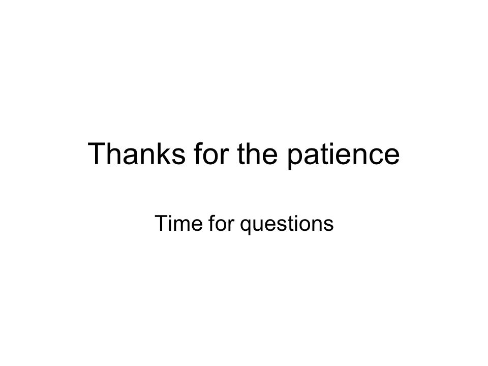 Thanks for the patience Time for questions
