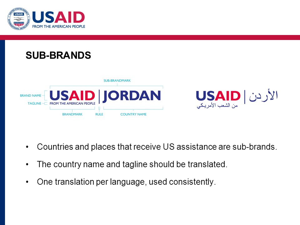 SUB-BRANDS Countries and places that receive US assistance are sub-brands.