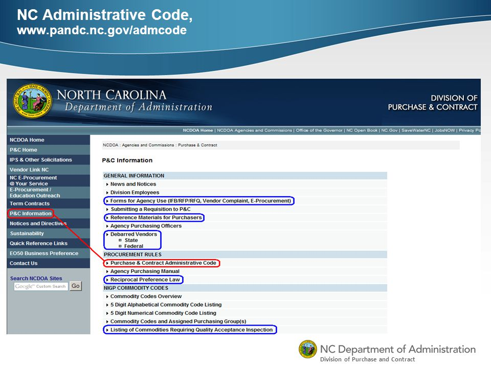 Division of Purchase and Contract NC Administrative Code, www.pandc.nc.gov/admcode