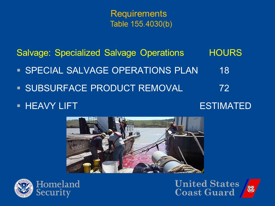 United States Coast Guard Requirements Salvage: Specialized Salvage OperationsHOURS  SPECIAL SALVAGE OPERATIONS PLAN 18  SUBSURFACE PRODUCT REMOVAL