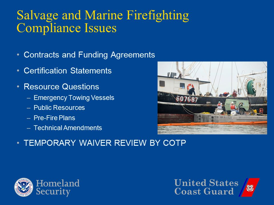 United States Coast Guard Salvage and Marine Firefighting Compliance Issues Contracts and Funding Agreements Certification Statements Resource Questio