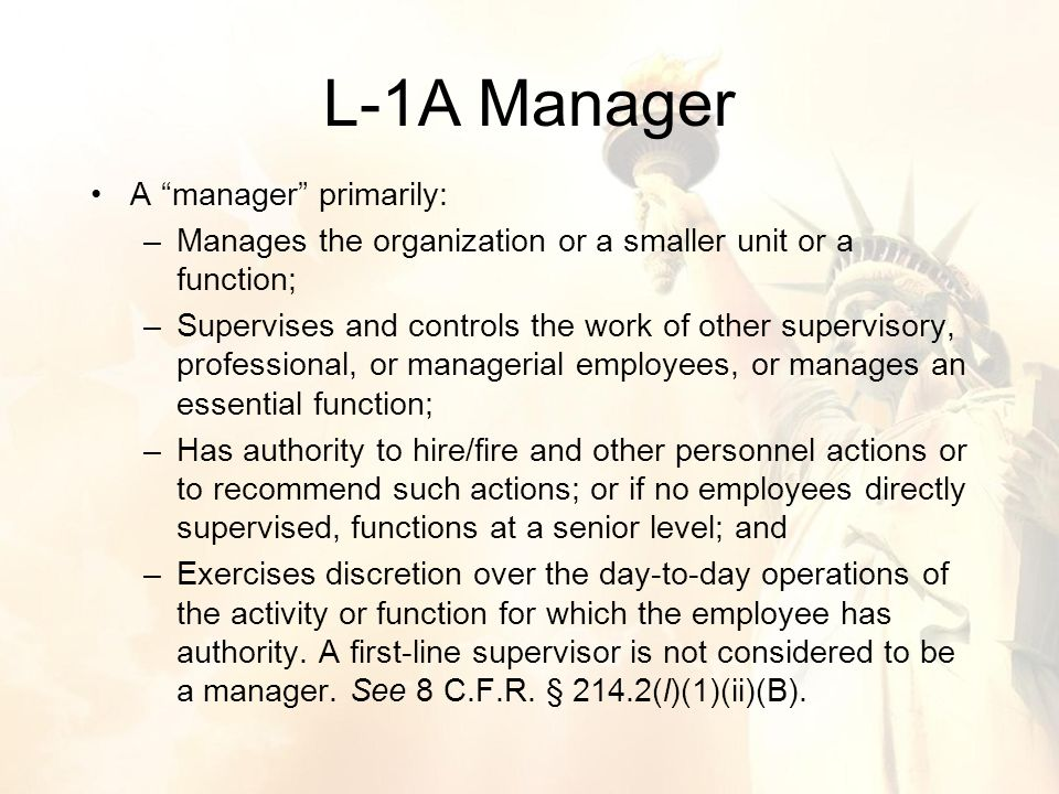 A manager primarily: –Manages the organization or a smaller unit or a function; –Supervises and controls the work of other supervisory, professional, or managerial employees, or manages an essential function; –Has authority to hire/fire and other personnel actions or to recommend such actions; or if no employees directly supervised, functions at a senior level; and –Exercises discretion over the day-to-day operations of the activity or function for which the employee has authority.