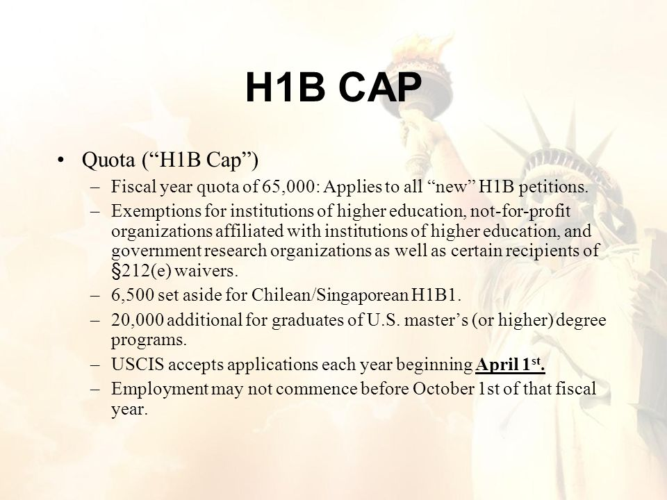 H1B CAP Quota ( H1B Cap ) –Fiscal year quota of 65,000: Applies to all new H1B petitions.