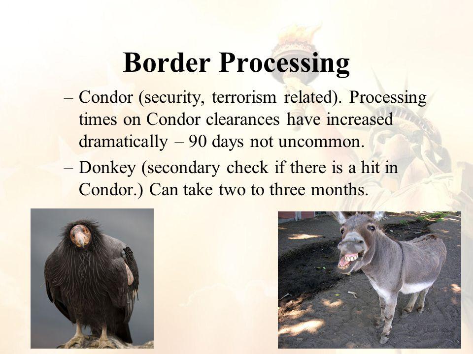 Border Processing –Condor (security, terrorism related).